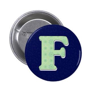Monogram Letter F 6 Cm Round Badge