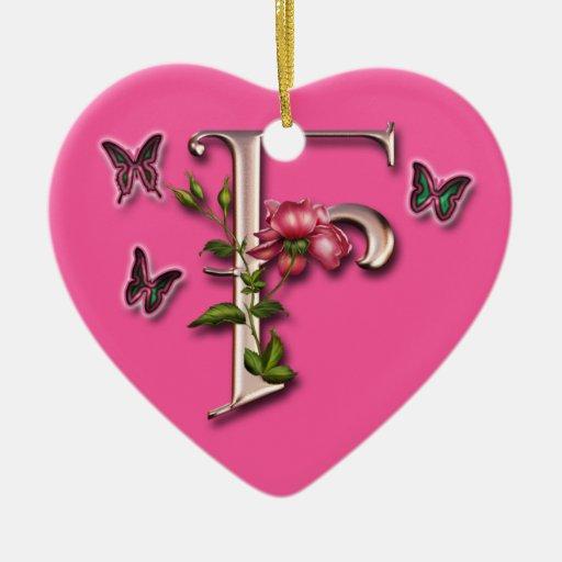 MONOGRAM LETTER F - HEART ORNAMENT