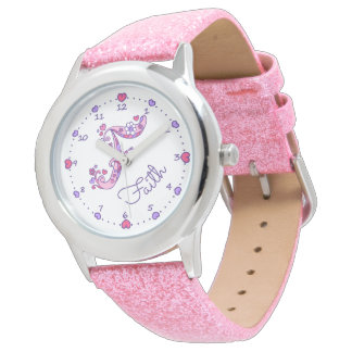 Monogram letter F personalized girls name watch