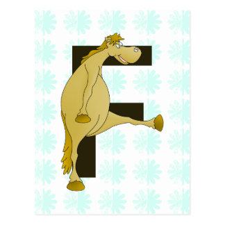 Monogram Letter F Pony Postcard