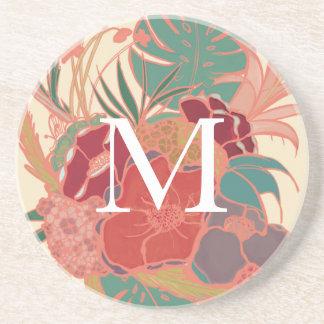 Monogram Letter Floral Drink Coaster