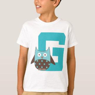 Monogram Letter G Alphabet Owl T-Shirt