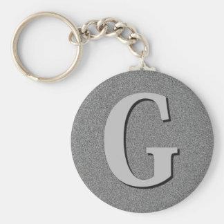 Monogram Letter G Basic Round Button Key Ring
