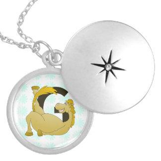 Monogram Letter G Pony Round Locket Necklace