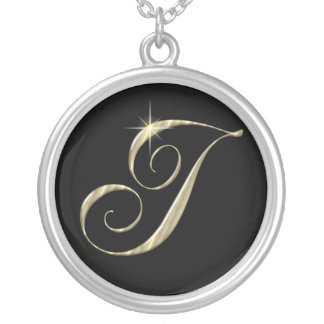 Monogram Letter I initial Necklace Sterling Silver Round Pendant Necklace