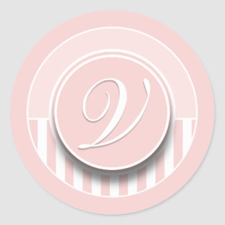 Monogram Letter Initial V Sticker Seal Label