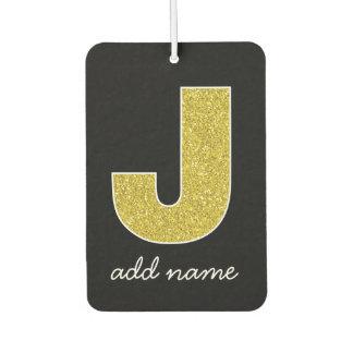 Monogram Letter J - Black and Fake Sparkle Glitter