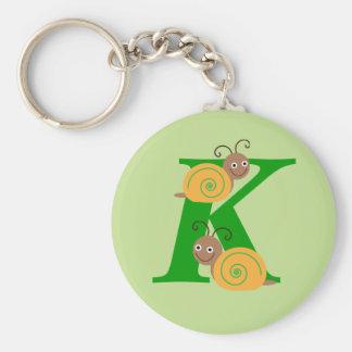 Monogram letter K brian the snail kids keychain
