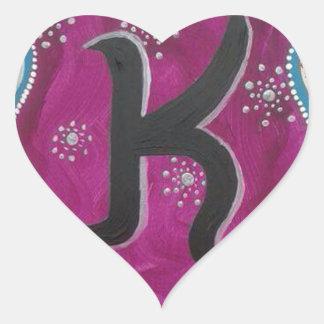 Monogram Letter K Heart Sticker