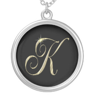 Monogram Letter K initial Necklace Sterling Silver