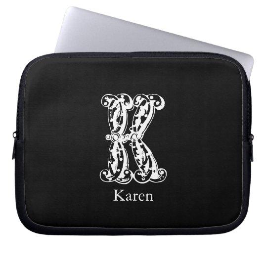 Monogram Letter K Initials Laptop Sleeve