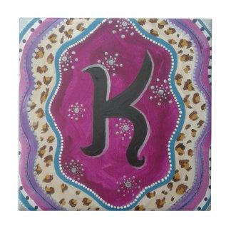 Monogram Letter K Small Square Tile