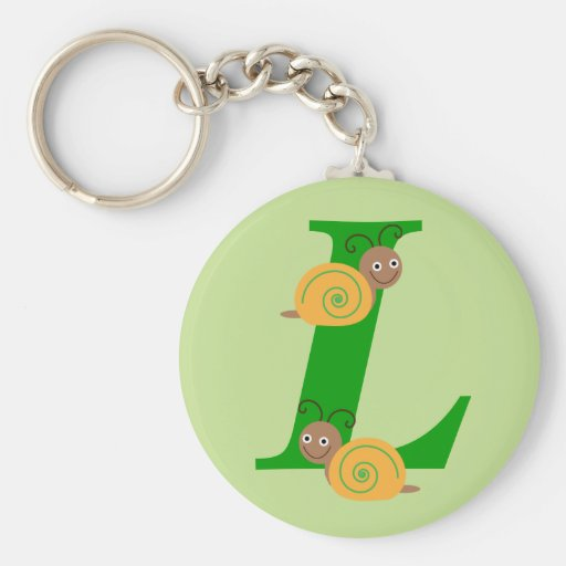 Monogram letter L brian the snail kids keychain