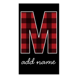 Monogram Letter M - Black and Red Buffalo Plaid Pack Of Standard Business Cards