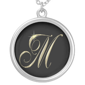 Monogram Letter M initial Necklace Sterling Silver