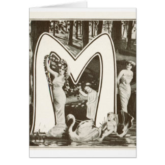 Monogram Letter M - Romantic Art Nouveau Design Card