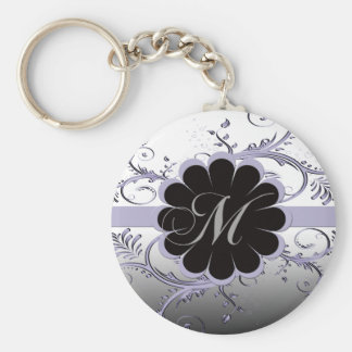 Monogram Letter M Violet Basic Round Button Key Ring