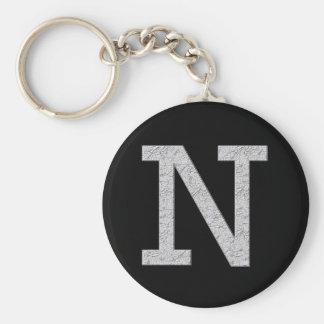 Monogram Letter N Key Ring