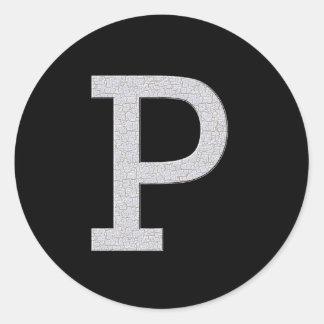 Monogram Letter P Classic Round Sticker