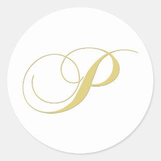 Monogram Letter P Golden Single Classic Round Sticker