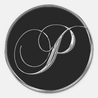 Monogram Letter P Sliver On Black Wedding Seal Round Sticker