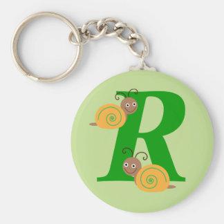 Monogram letter R brian the snail kids keychain