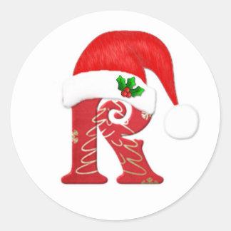 Monogram letter R, Santa hat Christmas Classic Round Sticker