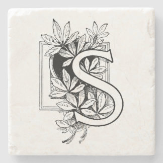 Monogram Letter 'S' Collage Stone Beverage Coaster