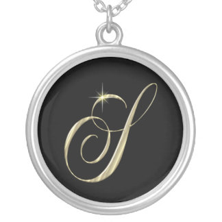 Monogram Letter S initial Necklace Sterling Silver Round Pendant Necklace