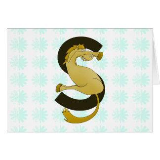 Monogram  Letter S Pony Distressed Flower Pattern Greeting Cards