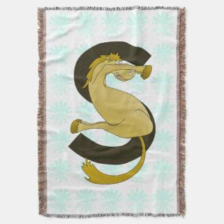 Monogram  Letter S Pony Distressed Flower Pattern Throw Blanket