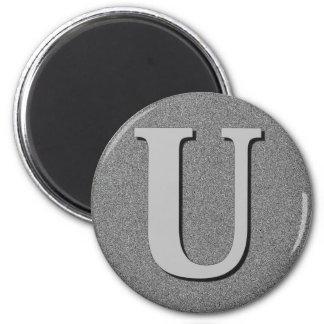 Monogram Letter U 6 Cm Round Magnet