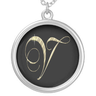 Monogram Letter V initial Necklace Sterling Silver Round Pendant Necklace