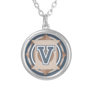 "Monogram Letter ""V"" Initial Round Pendant Necklace"