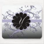 Monogram Letter V Violet Mouse Pads