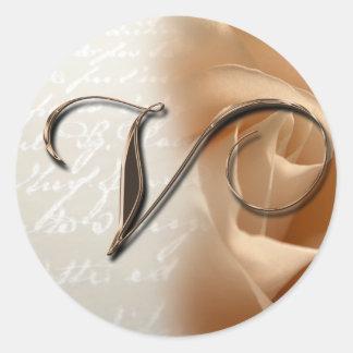 Monogram Letter V Wedding Envelope Seal Round Sticker