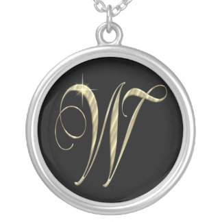 Monogram Letter W initial Necklace Sterling Silver Round Pendant Necklace