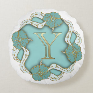 Monogram Letter Y Round Pillow