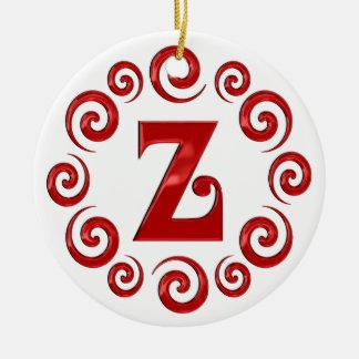 Monogram Letter Z Red Ceramic Ornament