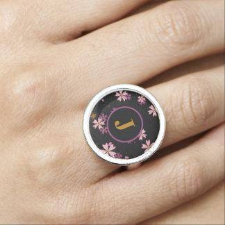 Monogram Light and Dark Lavender Flowers on Black Ring