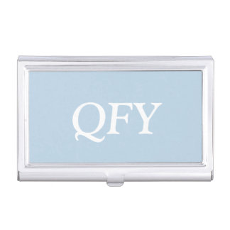 Monogram Light Baby Blue Chic Complementary Color Business Card Case