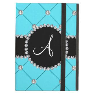 Monogram light blue tuft diamonds iPad air cases