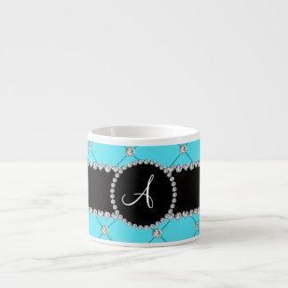 Monogram light blue tuft diamonds 6 oz ceramic espresso cup
