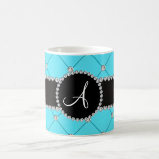 Monogram light blue tuft diamonds classic white coffee mug