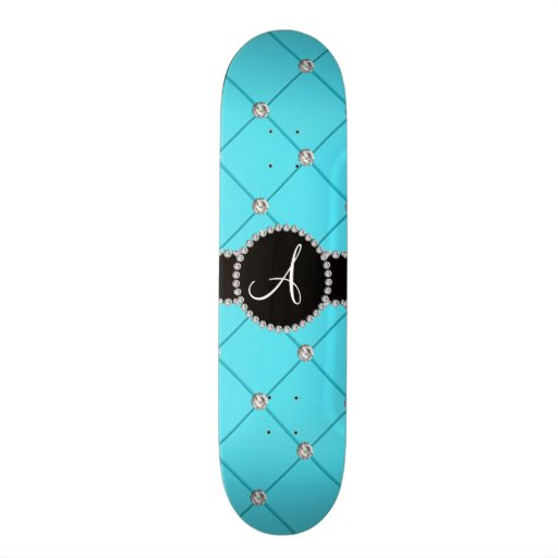Monogram light blue tuft diamonds skate decks