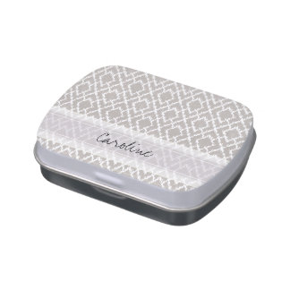 Monogram Light Gray Tribal Ikat Diamond Pattern Jelly Belly Candy Tins