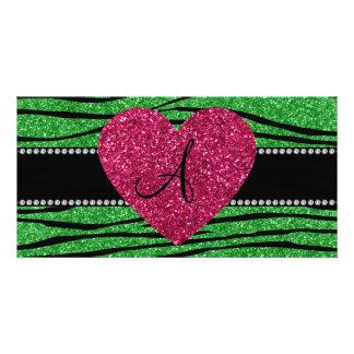 Monogram light green glitter zebra stripes heart photo cards