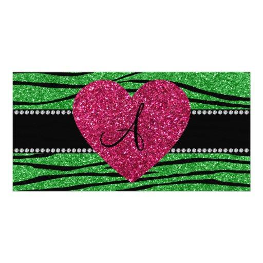 Monogram light green glitter zebra stripes heart customized photo card