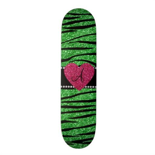 Monogram light green glitter zebra stripes heart skate board deck