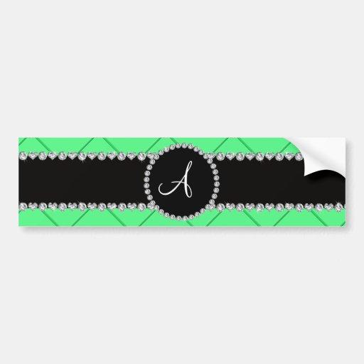 Monogram light green tuft diamonds bumper stickers